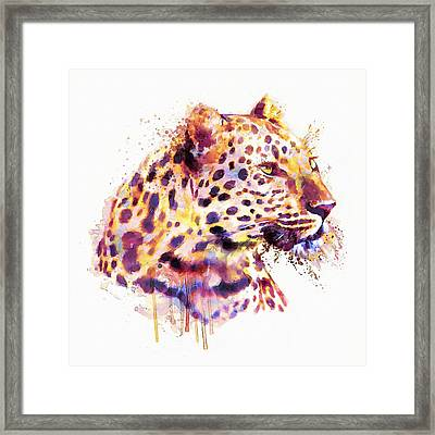 Leopard Head Framed Print by Marian Voicu
