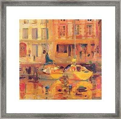 Les Deux Bateaux Framed Print by Peter Graham