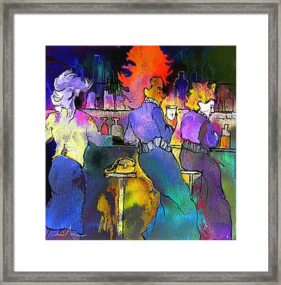 Les Filles Du Cafe De La Nuit Framed Print by Miki De Goodaboom
