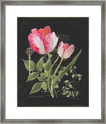 Les Fleurs Magnifiques En Noir - Parrot Tulips Vintage Style Framed Print by Audrey Jeanne Roberts