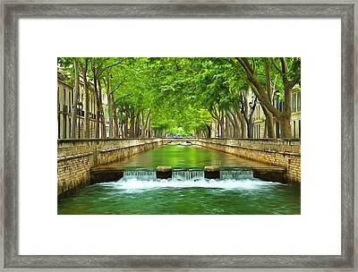 Les Quais De La Fontaine Nimes Framed Print by Scott Carruthers