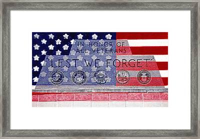 Lest We Forget With Flag Graphic Framed Print by Steve Ohlsen
