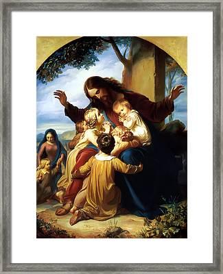 Let The Children Come To Me Framed Print by Carl Vogel von Vogelstein