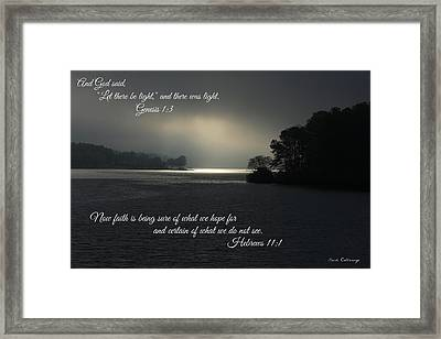 Let There Be Light Bible Art Scripture Art Framed Print by Reid Callaway