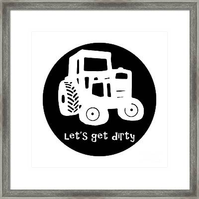 Lets Get Dirty Round Circle Beach Towel Framed Print by Edward Fielding