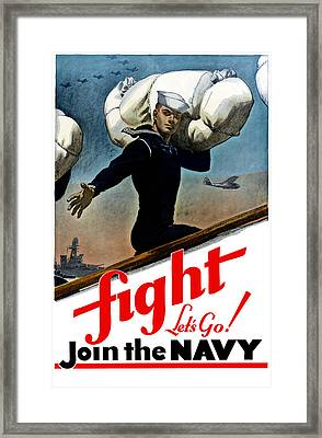 Let's Go Join The Navy Framed Print by War Is Hell Store