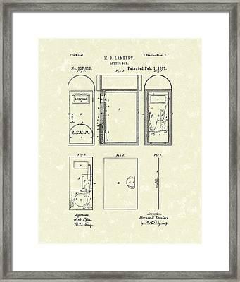Letter Box 1887 Patent Art Framed Print by Prior Art Design