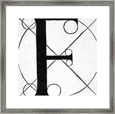 Letter F Framed Print by Leonardo Da Vinci