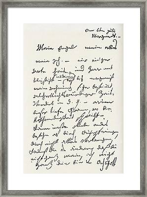 Letter From Ludwig Van Beethoven To The Framed Print by Vintage Design Pics