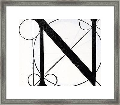 Letter N Framed Print by Leonardo Da Vinci