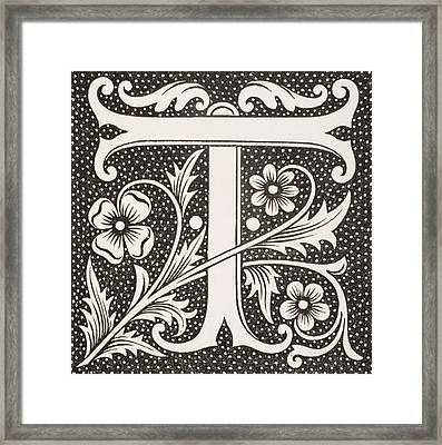Letter T Framed Print by French School