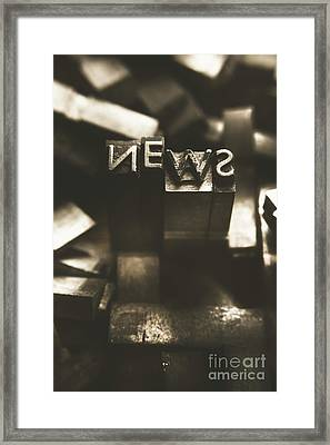 Letterpress And Vintage Journalism Framed Print by Jorgo Photography - Wall Art Gallery
