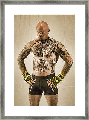 Levi Price Cage Fighter Framed Print by Rich Beer