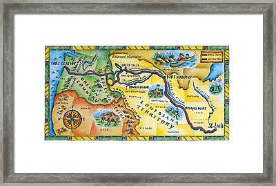 Lewis & Clark Expedition Map Framed Print by Jennifer Thermes