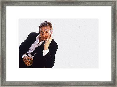Liam Neeson Framed Print by Queso Espinosa