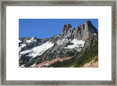 Liberty Bell Mountain Range Over Washington Pass Framed Print by Dan Sproul