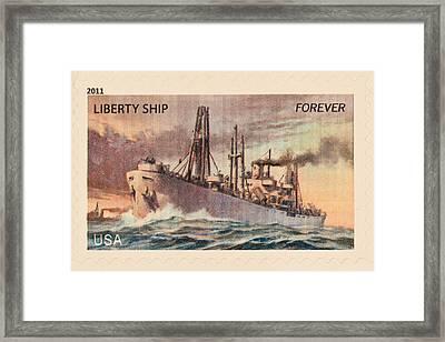 Liberty Ship Stamp Framed Print by Heidi Smith