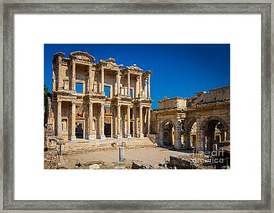 Library Of Celcus Framed Print by Inge Johnsson