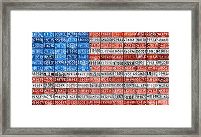 License Plate Flag Of The United States Framed Print by Design Turnpike