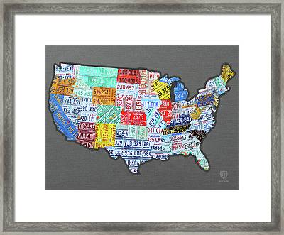 License Plate Map Of The United States Edition 2016 On Steel Background Framed Print by Design Turnpike