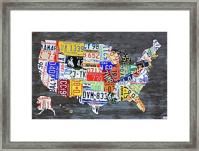 License Plate Map Of The United States Gray Edition 16 With Special Kodiak Bear Alaska Plate Framed Print by Design Turnpike