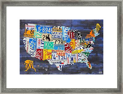 License Plate Map Of The Usa On Blue Wood Boards Framed Print by Design Turnpike