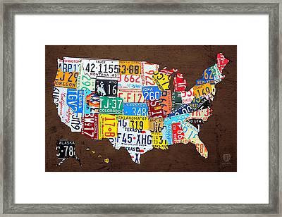 License Plate Map Of The Usa On Brown Wood Framed Print by Design Turnpike