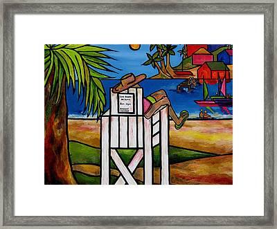Life Guard In Jamaica Framed Print by Patti Schermerhorn