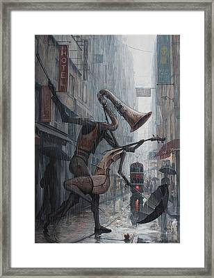 Life Is  Dance In The Rain Framed Print by Adrian Borda
