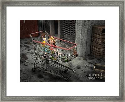 Shopping Cart Framed Print featuring the digital art Life Is Hard by Jutta Maria Pusl