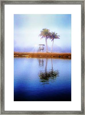 Lifeguard Tower Under The Palms Framed Print by Debra and Dave Vanderlaan