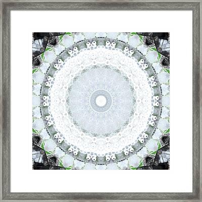 Light Blue Mandala- Art By Linda Woods Framed Print by Linda Woods