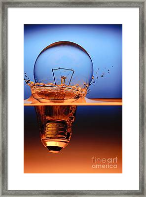 Light Bulb And Splash Water Framed Print by Setsiri Silapasuwanchai