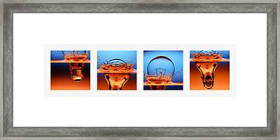 Light Bulb Drop In To The Water Framed Print by Setsiri Silapasuwanchai