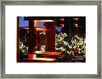 Light Fixture Reflection In David And Gladys Wright Home Framed Print by Heather Kirk
