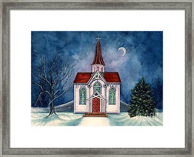 Light Shines On - Winter Country Church Framed Print by Janine Riley