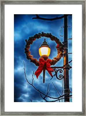 Lighted Christmas Wreath Framed Print by John Haldane