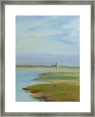 Lighthouse Across The Ptown Moors Framed Print by Phyllis Tarlow