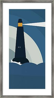Lighthouse At Night Framed Print by Frank Tschakert