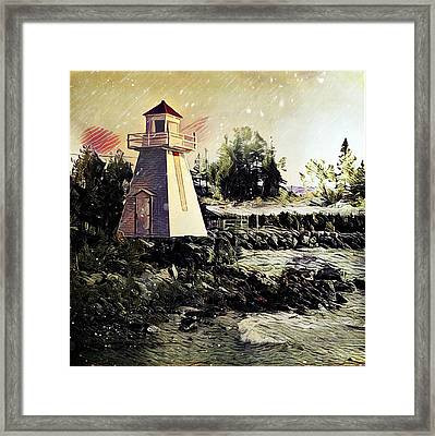 Lighthouse At South Baymouth Framed Print by Julius Reque