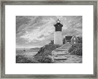 Lighthouse At Sunset - Black And White Framed Print by Lucie Bilodeau