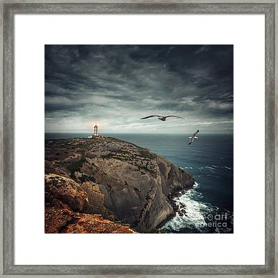 Lighthouse Cliff Framed Print by Carlos Caetano