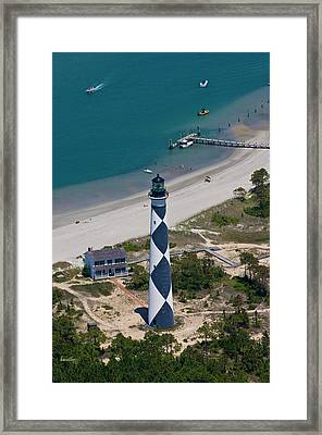 Lighthouse From Above Framed Print by Betsy Knapp