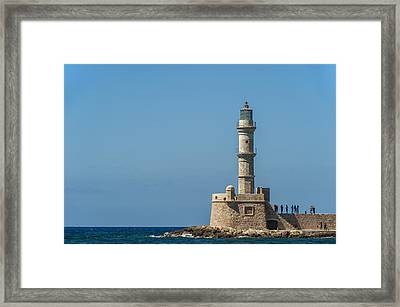Lighthouse In The Venetian Harbour Framed Print by Dosfotos