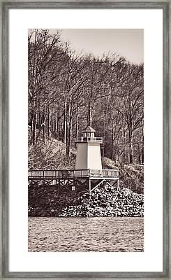 Lighthouse Landing Marina Inlet - B/w Framed Print by Greg Jackson