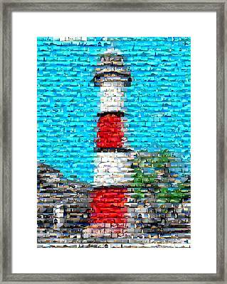 Lighthouse Made Of Lighthouses Mosaic Framed Print by Paul Van Scott