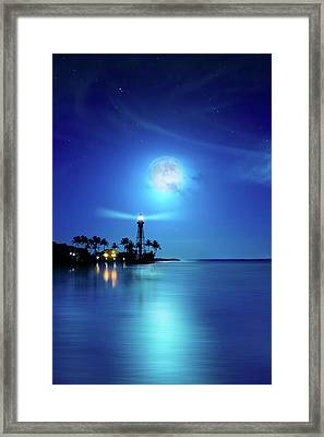 Lighthouse Moon Framed Print by Mark Andrew Thomas