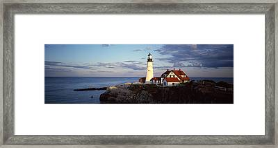 Lighthouse On A Cliff, Portland Head Framed Print by Panoramic Images