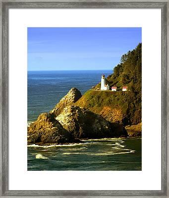 Lighthouse On The Oregon Coast Framed Print by Marty Koch