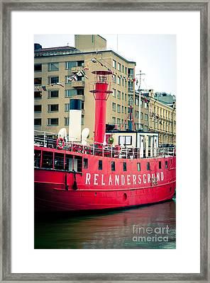 Lighthouse Ship Framed Print by Andy Smy